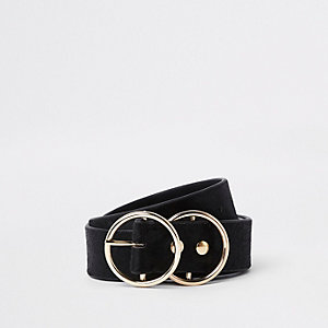 Black leather pony double ring jeans belt