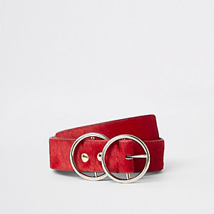 Red leather pony double ring jeans belt