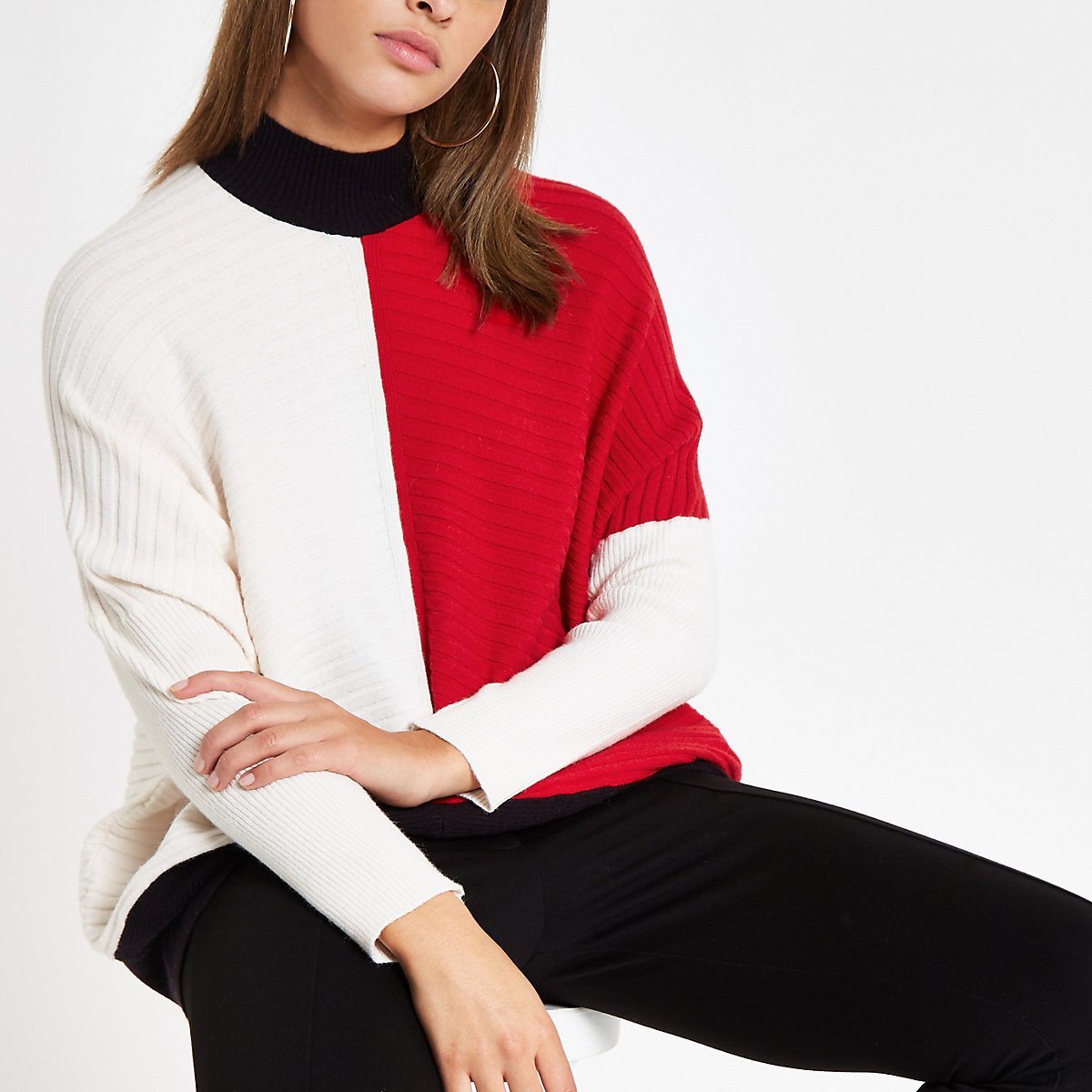 Red ribbed knit color block sweater