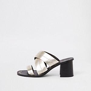 Gold leather triple strap mule sandals