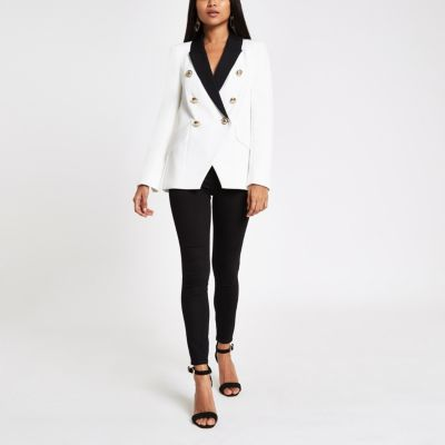 Petite White Double Breasted Tux Jacket by River Island