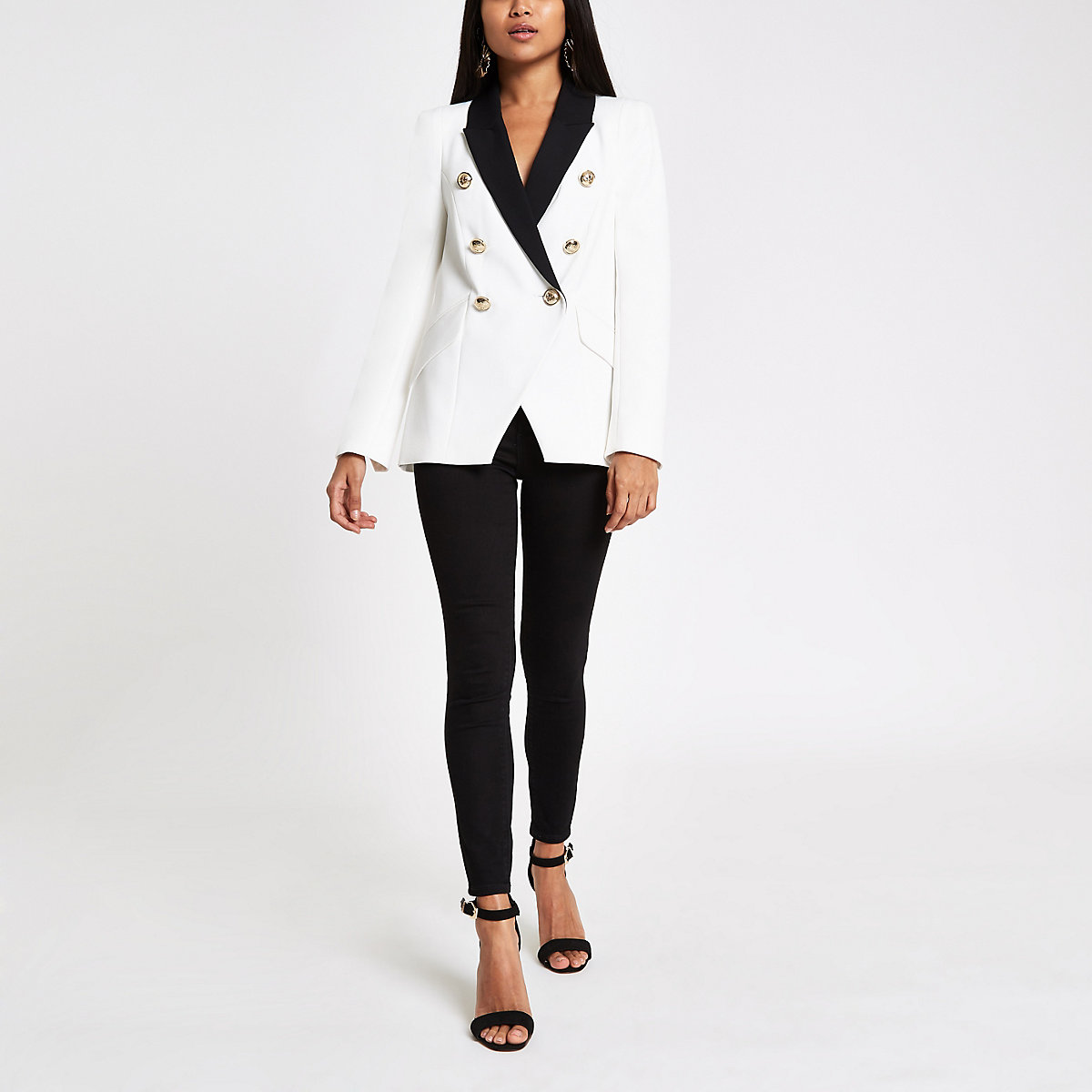 Petite white double breasted tux jacket