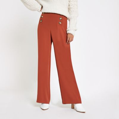 Petite Rust Button Detail Wide Leg Trousers by River Island
