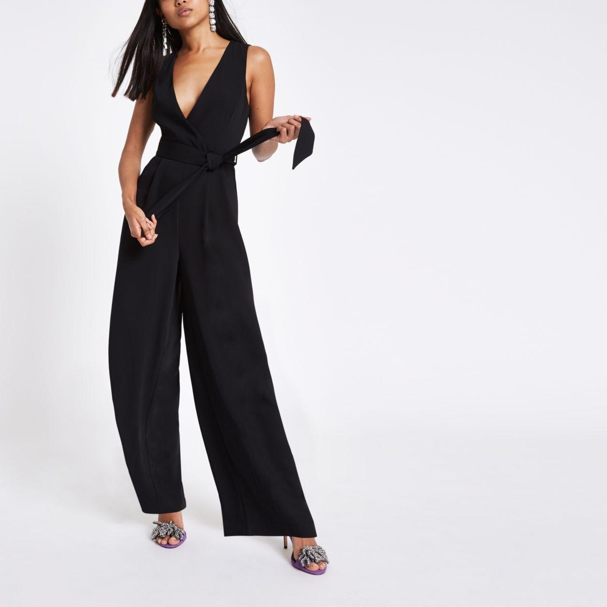 Petite black tie waist wide leg jumpsuit