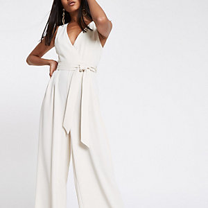 Petite cream tie waist wide leg jumpsuit