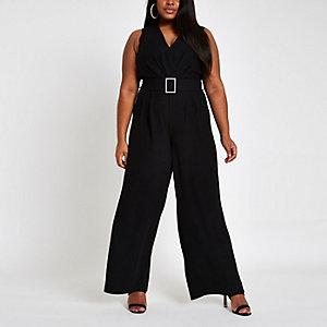 Plus – Schwarzer Overall mit Strass, Gürtel und weitem Bein