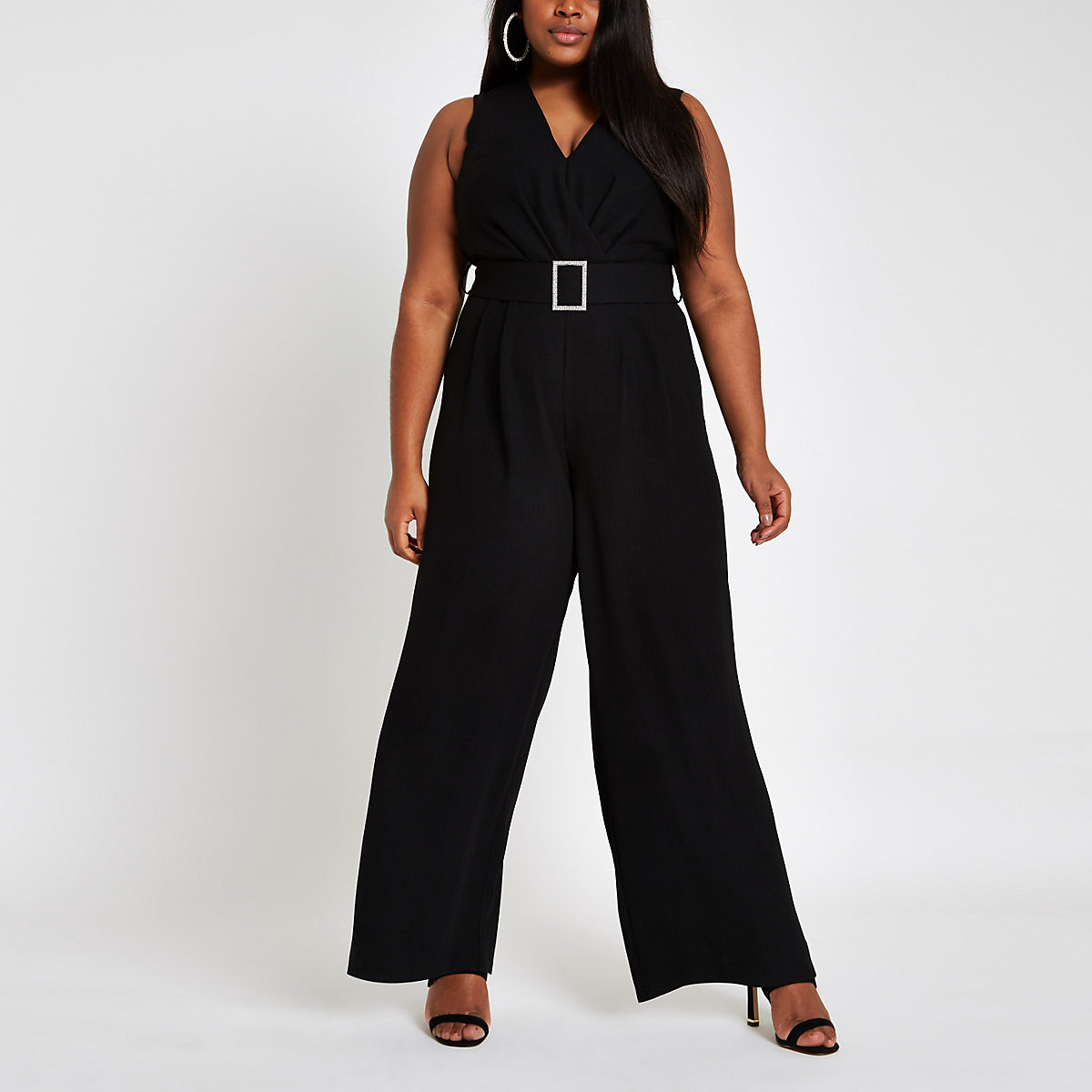 Plus black rhinestone belted wide leg jumpsuit