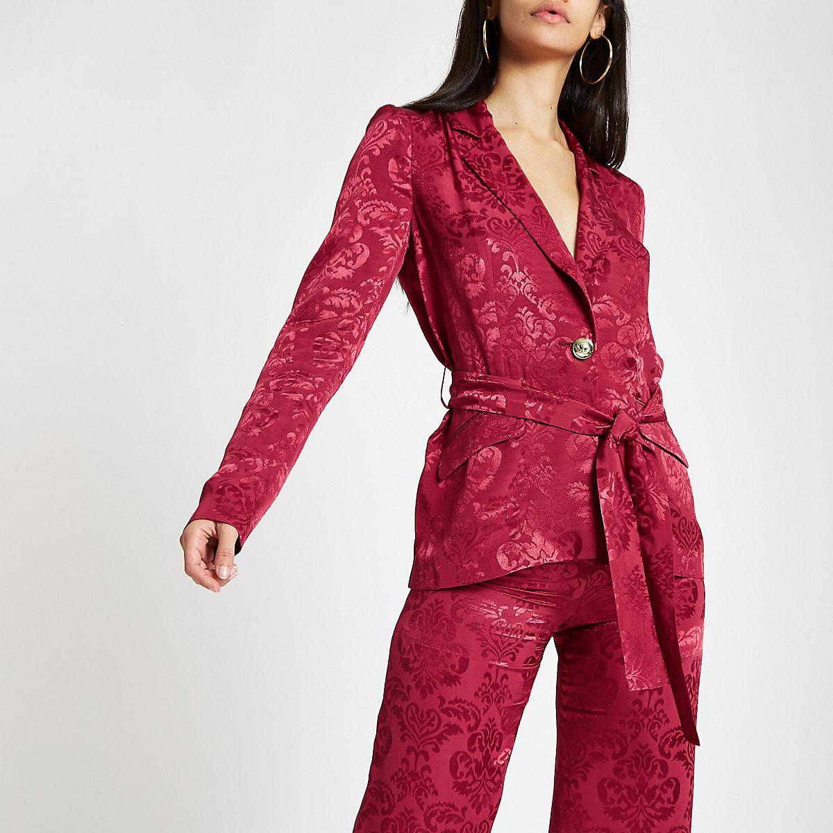 Dark red jacquard tie waist blazer