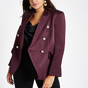 Plus – Zweireihiger Blazer in Lila