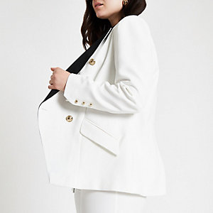 Plus cream double breasted tux jacket