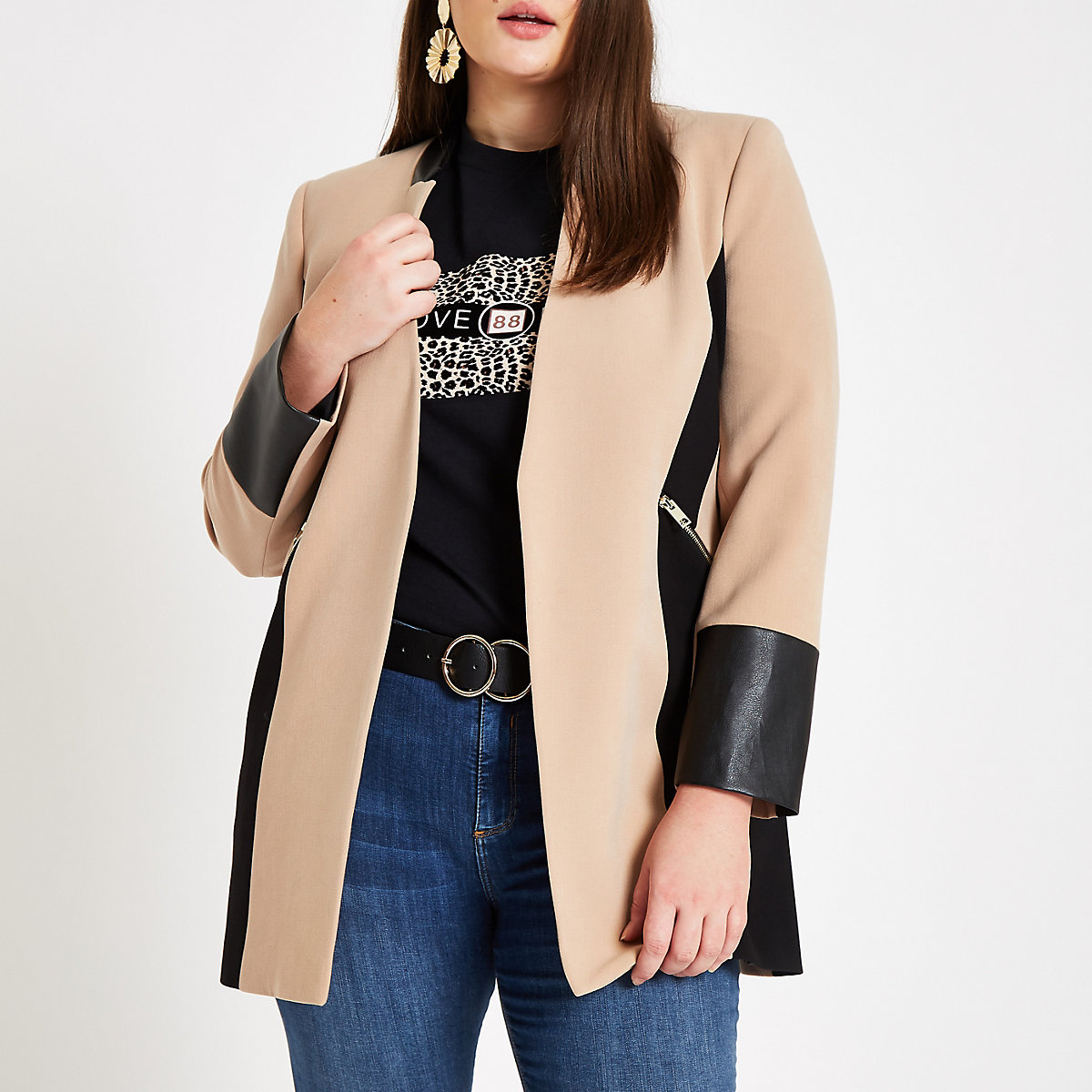 Plus beige leather trim contrast jacket