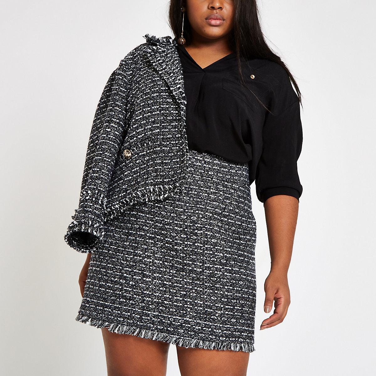 Plus navy boucle mini skirt