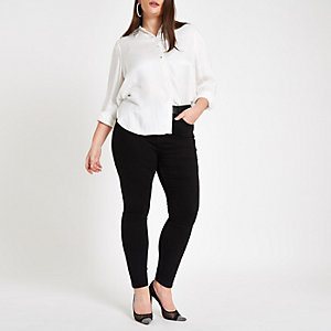Plus white embellished collar shirt