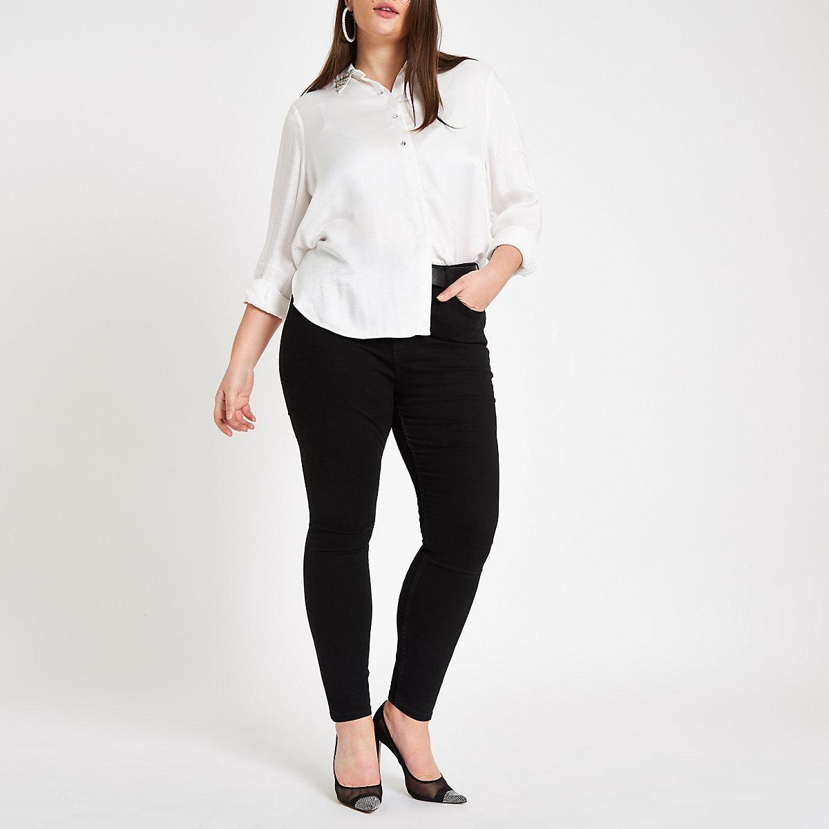 Plus white embellished collar shirt