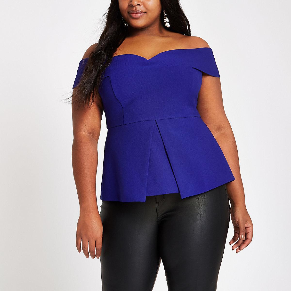 Plus blue structured bardot top