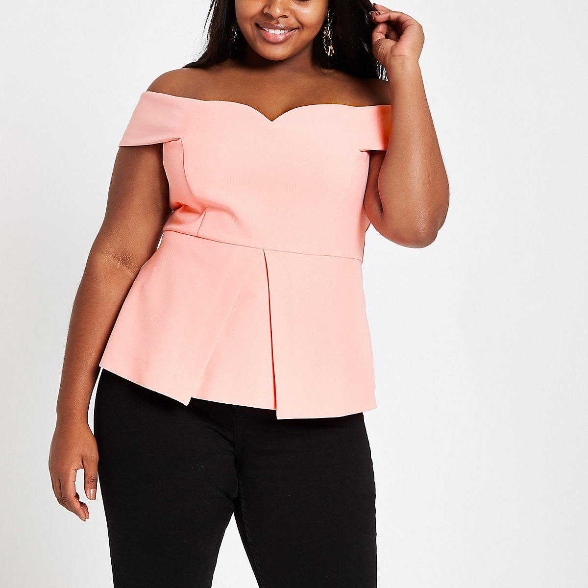 Plus coral structured bardot top