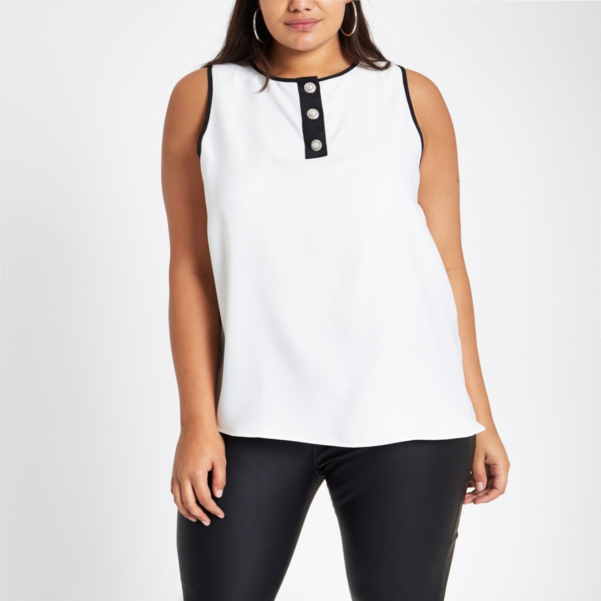 Plus white pearl button sleeveless top