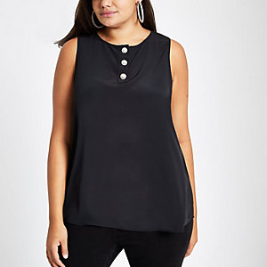 Plus black pearl diamante button shell top