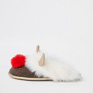 Chaussons crème motif renne à bordure en fausse fourrure