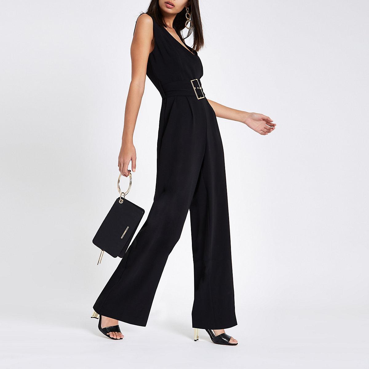 Black wide leg belted jumpsuit