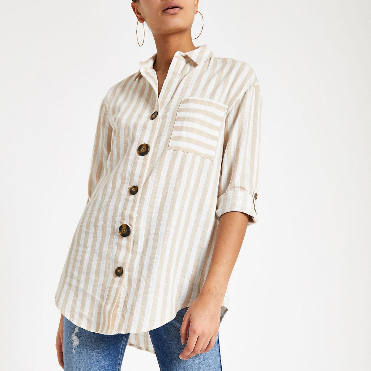 Brown stripe button front shirt