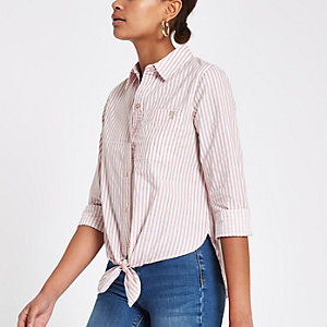 Pink stripe tie front crop long sleeve shirt