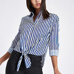 Blue stripe tie front crop long sleeve shirt