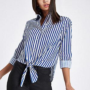 Chemise courte rayée bleue nouée devant à manches longues