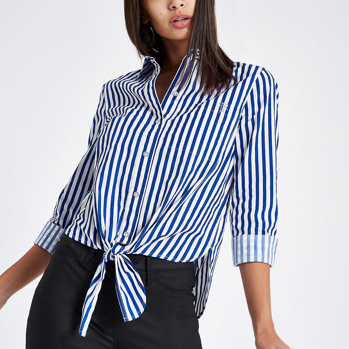 Blue stripe tie front crop long sleeve shirt