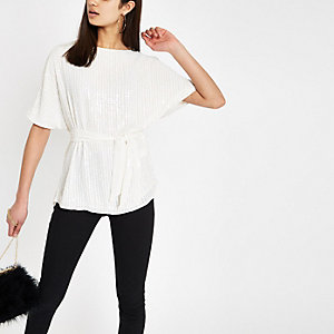 White sequin loose fit top
