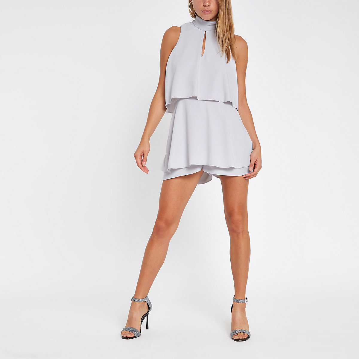 Grey high neck tiered frill playsuit