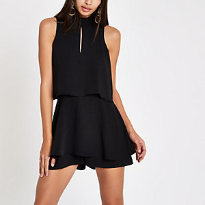 Black high neck tiered frill romper