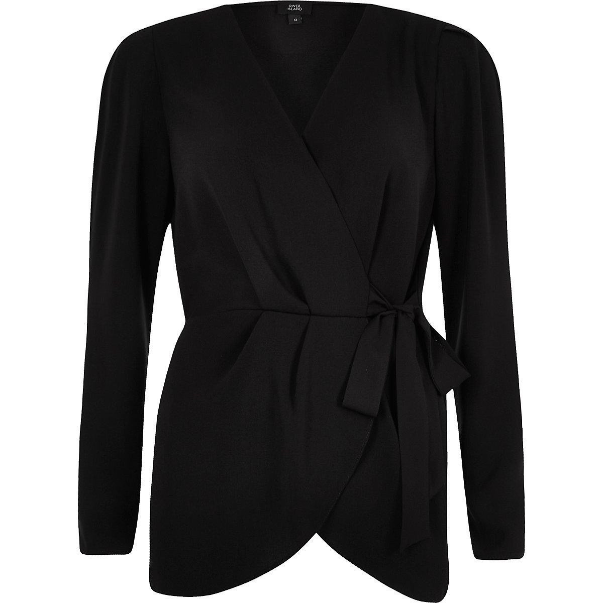 Overslag blouse zwart