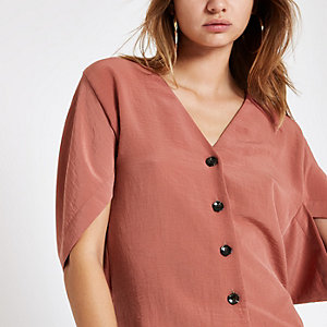 Copper button front short sleeve loose top