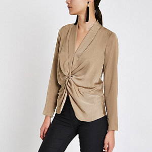 Beige twist front long sleeve top