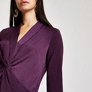 Purple twist front long sleeve top