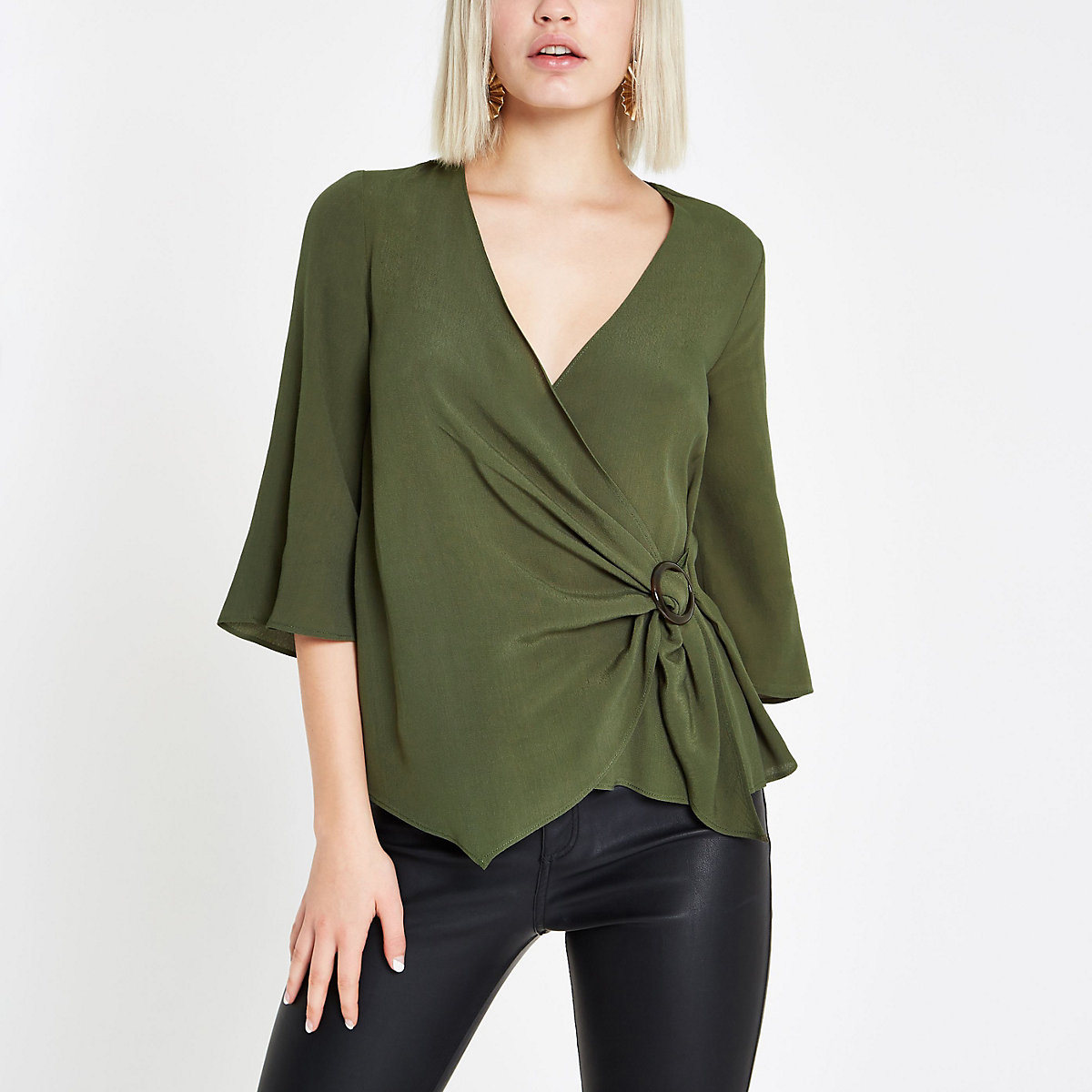 Khaki green ring tie waist blouse