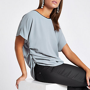 Light grey ruched bar back top