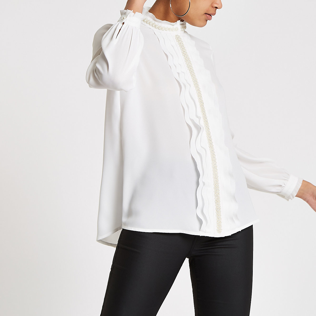 White pearl trim frill blouse