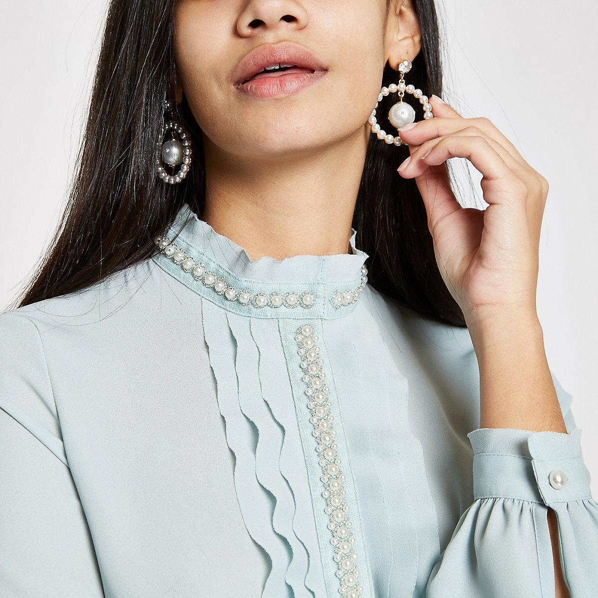 Light green pearl trim frill blouse