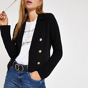 Black button detail knit blazer