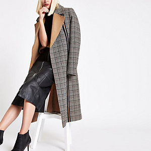 Black check tie waist longline coat