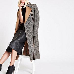 RI Studio – Manteau long à carreaux noir avec ceinture à nouer à la taille