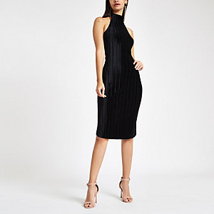 Black plisse halter neck bodycon midi dress