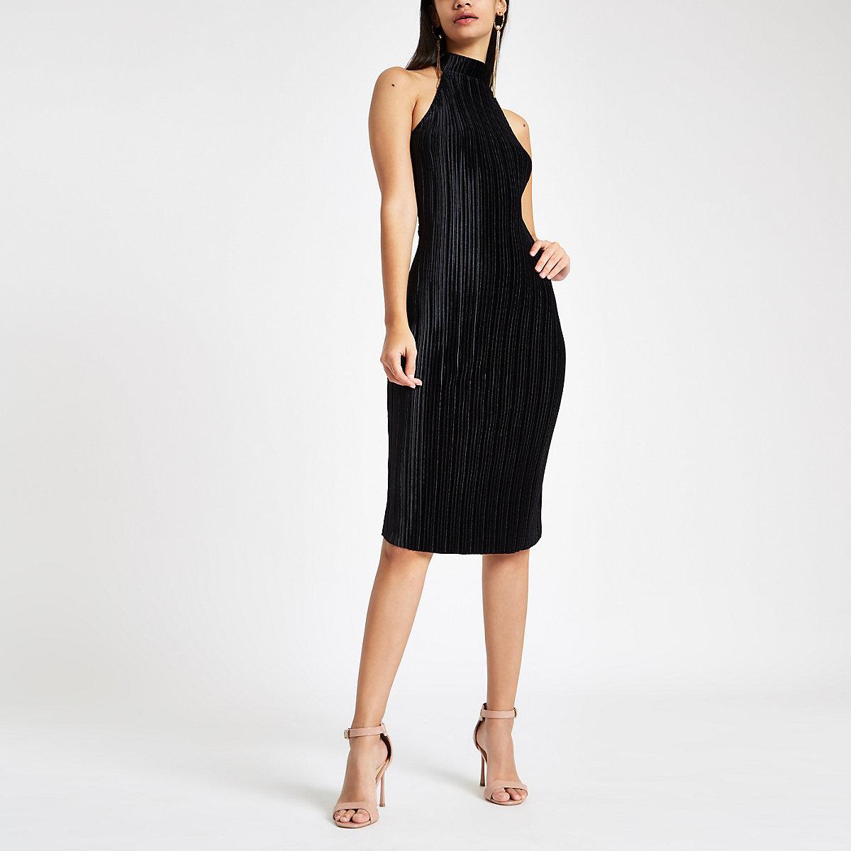 Black plisse halter neck bodycon midi dress