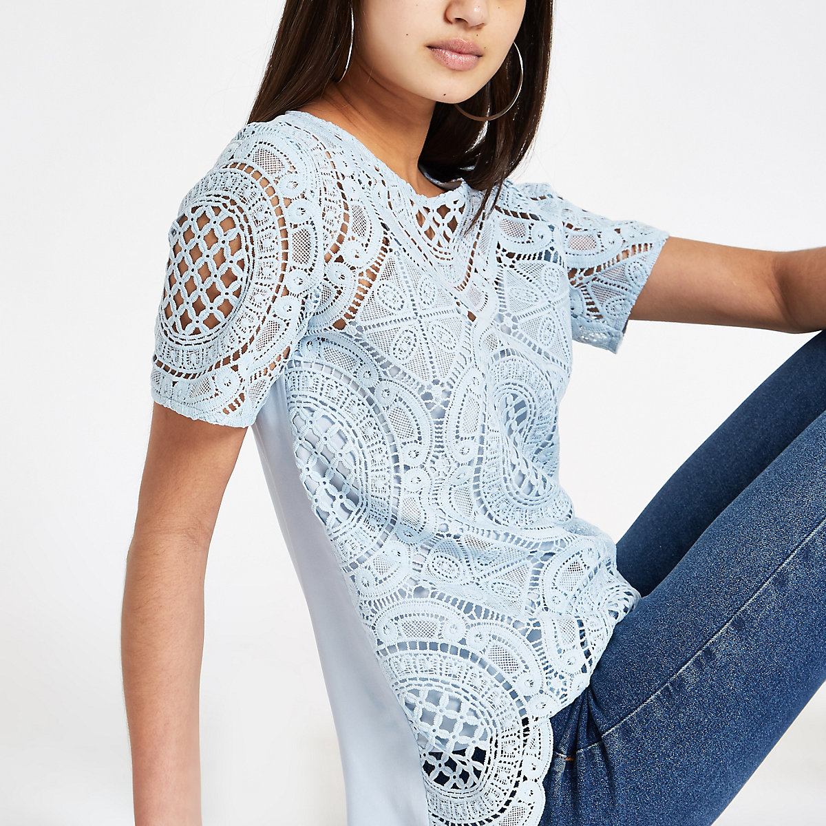 Blue lace loose fit T-shirt
