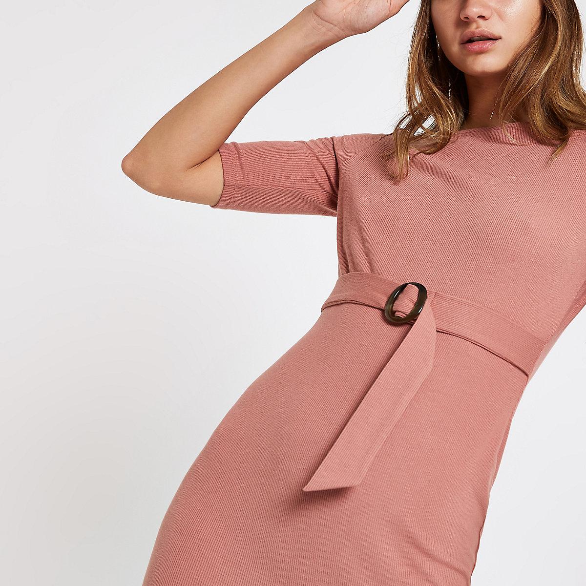 Pink belted short sleeve midi dress