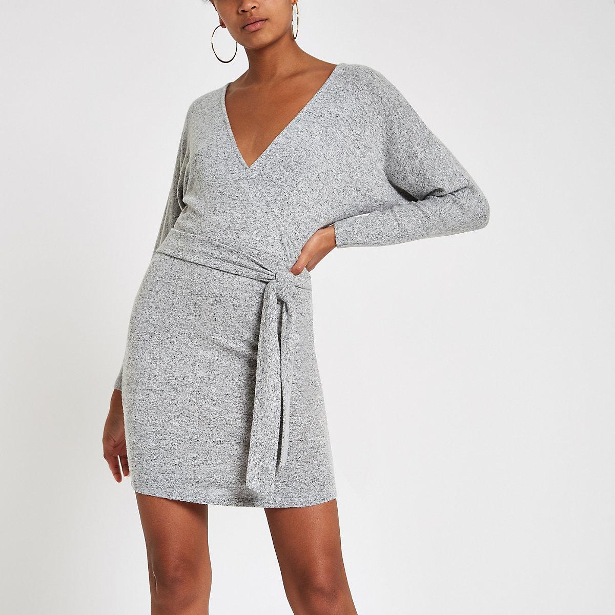 Grey wrap batwing sleeve bodycon mini dress