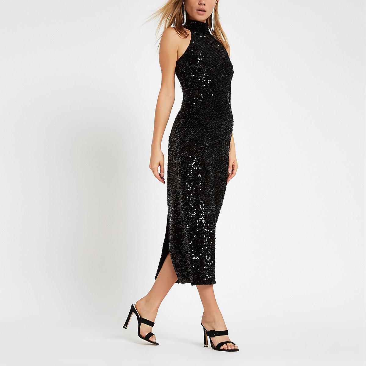 Black velvet sequin bodycon midi dress