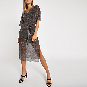 Black leopard print batwing sleeve midi dress